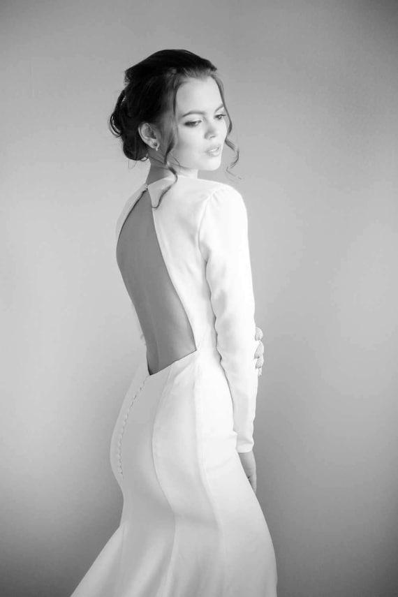 Minimalist Crepe Wedding Dress Long Sleeve Mermaid Bridal Etsy