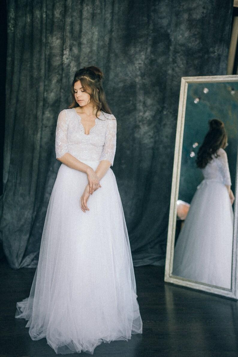 Boho Wedding Dress 34 Sleeve Wedding Dress Lace Tulle Etsy