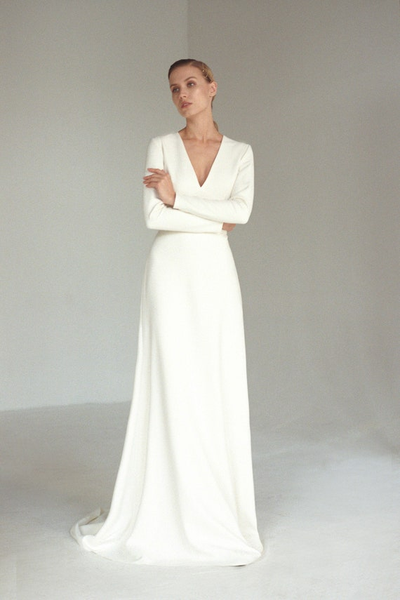 Long sleeve V neck wedding dress Modern minimalist crepe wedding dress Simple A line bridal gown with buttons and long train JOSEPHINE
