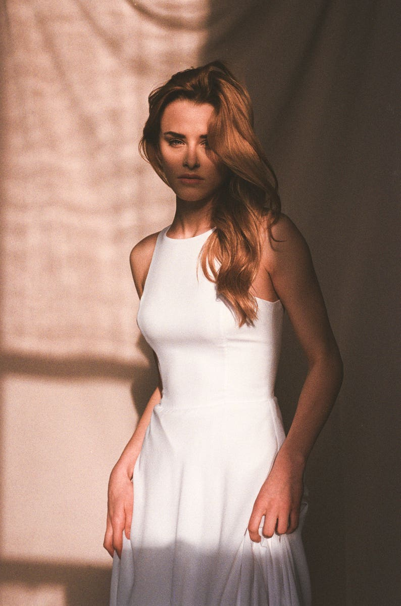 706a0518f1c2e Beach wedding dress - Minimalist crepe wedding dress - Simple boho wedding  dress - Modern bridal gown - sleeveless - A-line - ARRIA