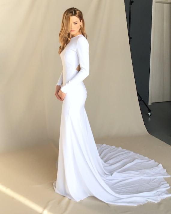 Moderne Krepp Hochzeit Kleid Minimalistisches Brautkleid Etsy