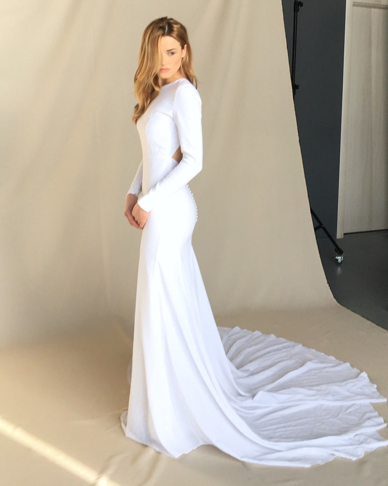 2496c6bfe71 Modern crepe wedding dress Minimalist bridal gown Simple