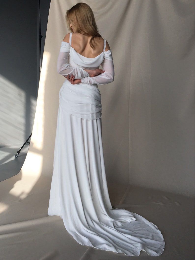 e8e05c5817 Off-shoulder wedding dress Boho chiffon beach wedding dress   Etsy