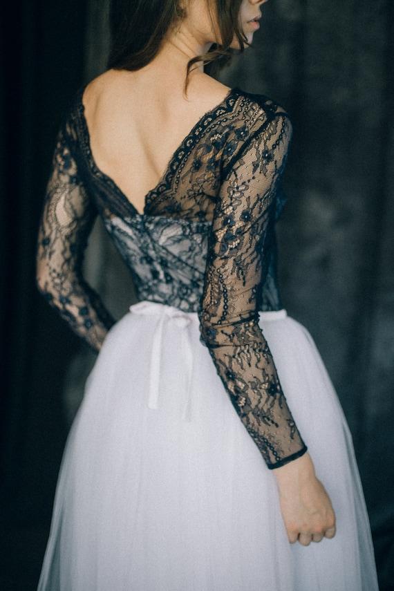 Black And White Wedding Dress Navy Blue Wedding Dress Etsy