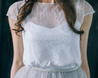 Lace wedding top - Bridal lace crop top with a cap sleeve - Boho bridal cover up - Lace bolero - Simple lace wedding top