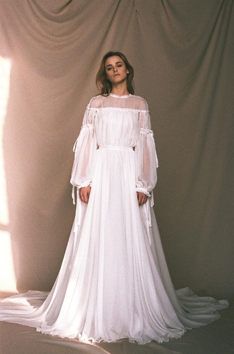 56458fb9580ba Bohemian wedding dress Statement bishop sleeve wedding dress | Etsy