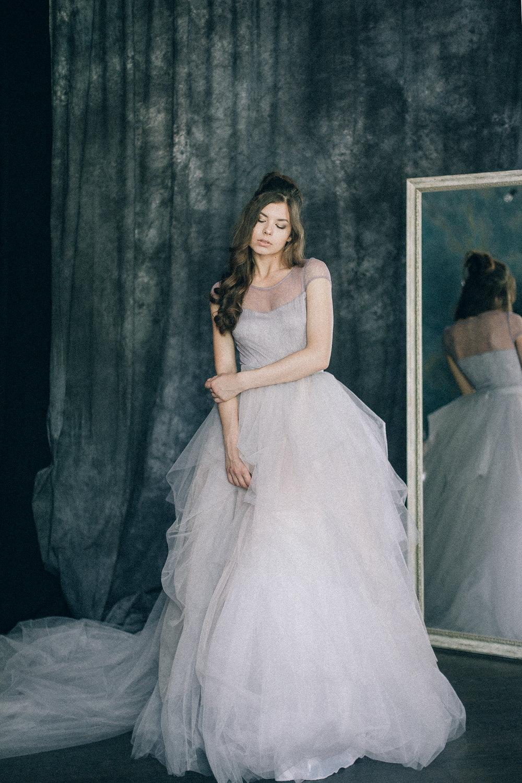 Colorful wedding dress Pastel Multicolor Pale Lilac Gray | Etsy