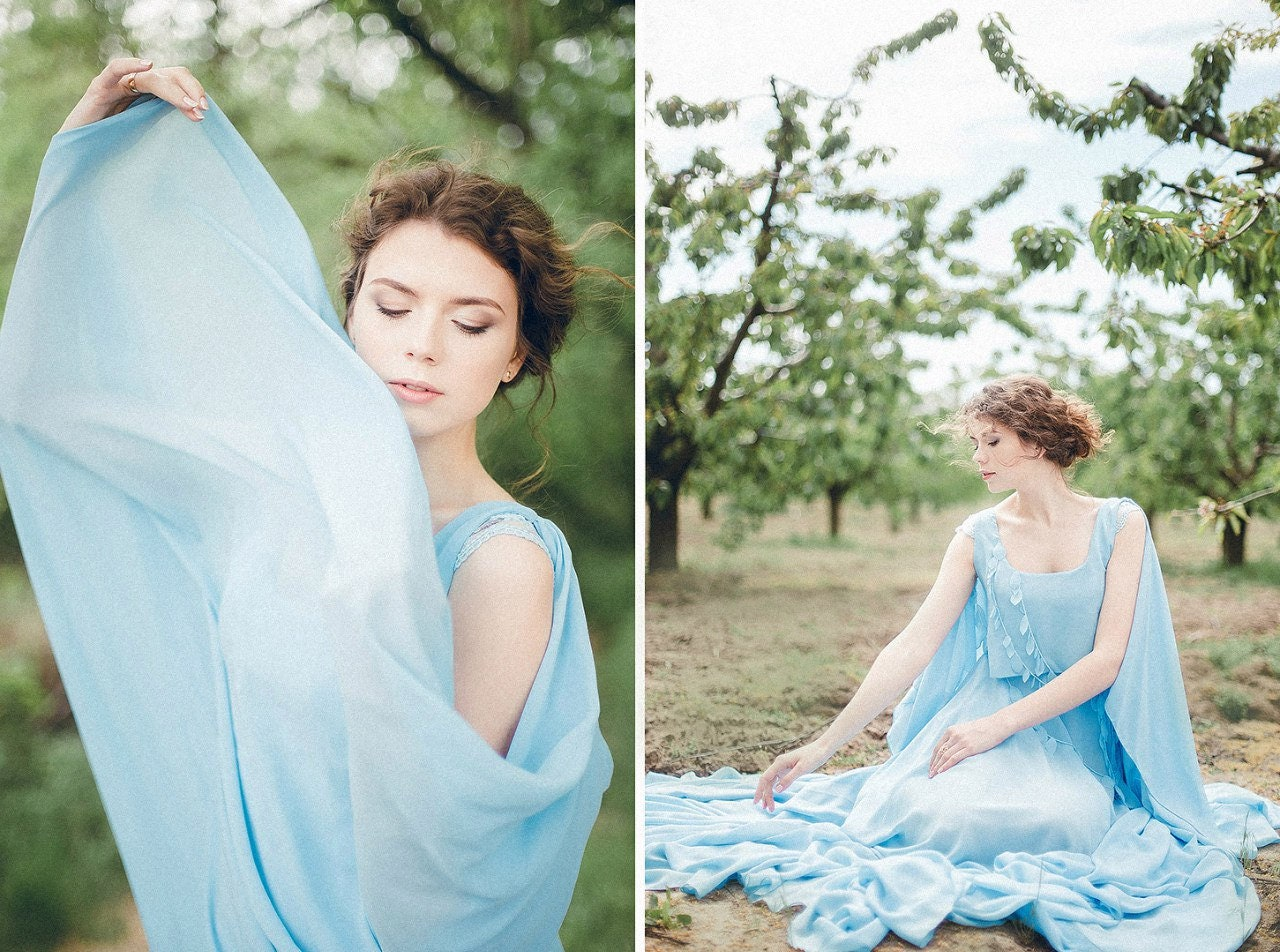 Wedding Gown With Cape: Blue Cape Wedding Dress Caped Boho Chiffon Bridal Gown