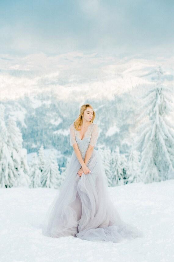 Abito da sposa grigio Abito da sposa di Tulle colorato abito da sposa open back Keyhole e lungo abito da sposa non tradizionali inverno