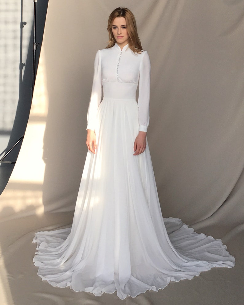 Wedding Dress With Sleeves.Long Sleeve Wedding Dress Chiffon Wedding Dress Button Up Long Train Bridal Gown Minimalist Light Ivory Wedding Dress Apollo