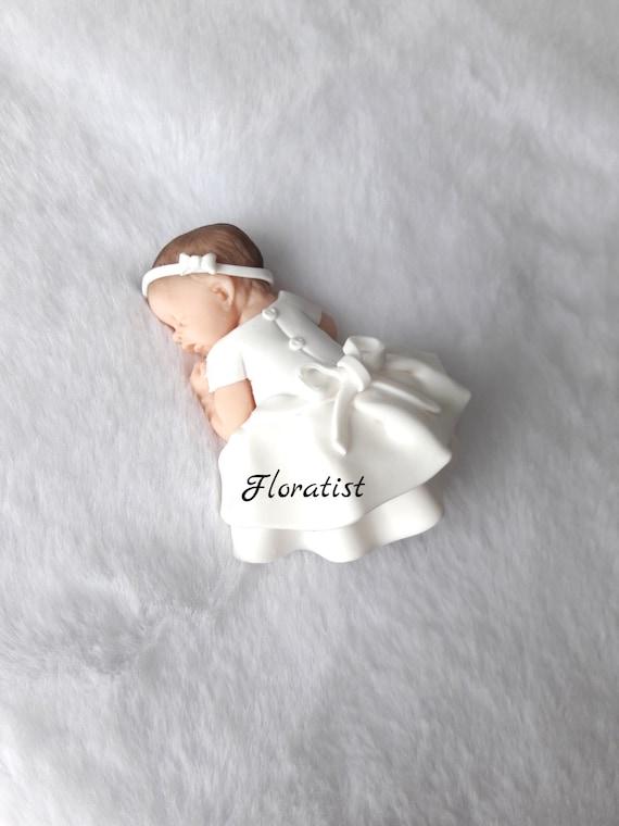 Bebe Fille Avec Robe Blanche Bapteme Miniature En Fimo A Etsy