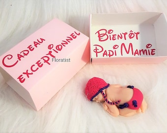 SEVERAL models babybox floratist box pink to announce a pregnancy version Grandpa Grandma and baby diaper