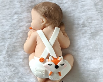Miniature baby boy with white strap shorts bapteme clothing with fimo fox cuddly, birthday, birth