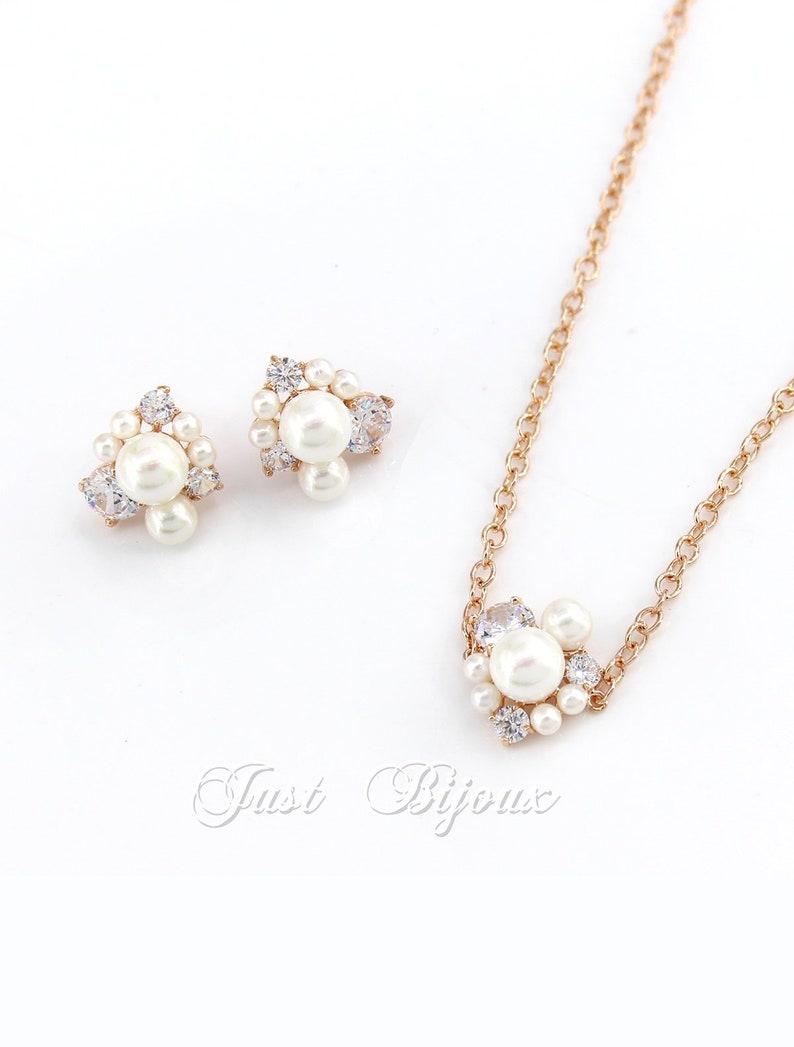 Wedding Earrings Set Pearl Necklace set Rose Gold Zirconia Earrings Bridal Earrings Wedding Jewelry Bridal Jewelry Bridesmaid Necklace Gift