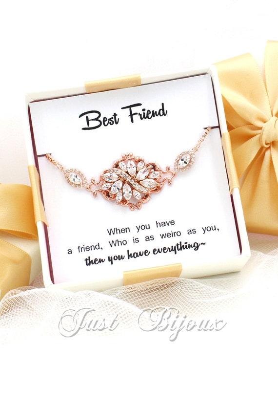 Wedding Bracelet Rose Gold Plated Zirconia Bracelet Wedding Etsy