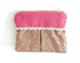 Cosmetic romantic pouch pink beige floral lace, Kit shabby chic, small tote bag, zippered pocket