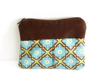 Green Blue Brown makeup pattern tiles, brown leather, travel pouch, clutch purse, gift
