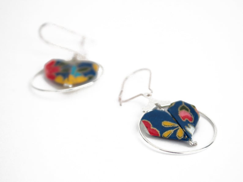 Hearts origami navy and multicolored creole earrings engagement gift Japanese jewelry paper earrings Valentine/'s day gift for woman