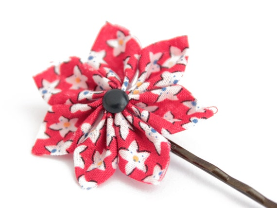 Barrette hair pin flower origami fabric pin liberty red etsy image 0 mightylinksfo