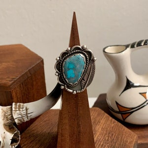 Artisan Sterling Silver Allysia Brooke Designs Handmade Ring Southwestern Jewelry Rustic Size 8 Bisbee Turquoise