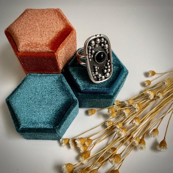Onyx & Granulation | Sterling Silver | Ring - Size 8 | Mid Century | Minimalist | Artisan | Allysia Brooke Designs