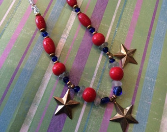Red Rocket Necklace and Pierced Earrings Set