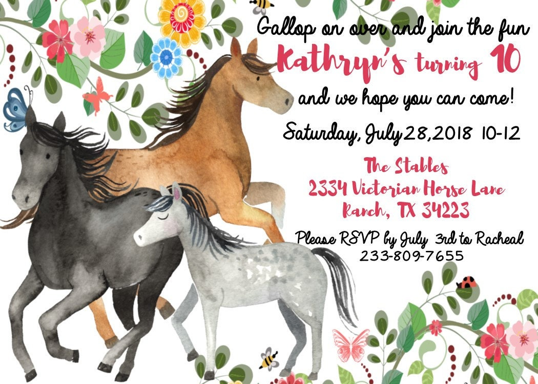 Watercolor Horse Birthday Invitation Gallery Photo