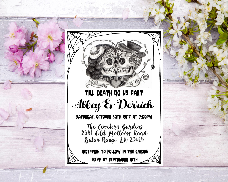 Skull Wedding Invitation, Alternative Wedding, Halloween Wedding ...