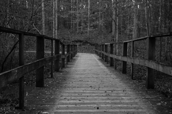 Digitale Hintergrund Schwarz Und Weiß Alte Holz Brücke Im