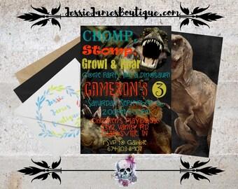 Dinosaur Birthday Invitation, Dinosaur Invitation, Dinosaur Birthday, Birthday Party Invitation, Tyrannosaurus, Trex, T-rex, Dinosaurs