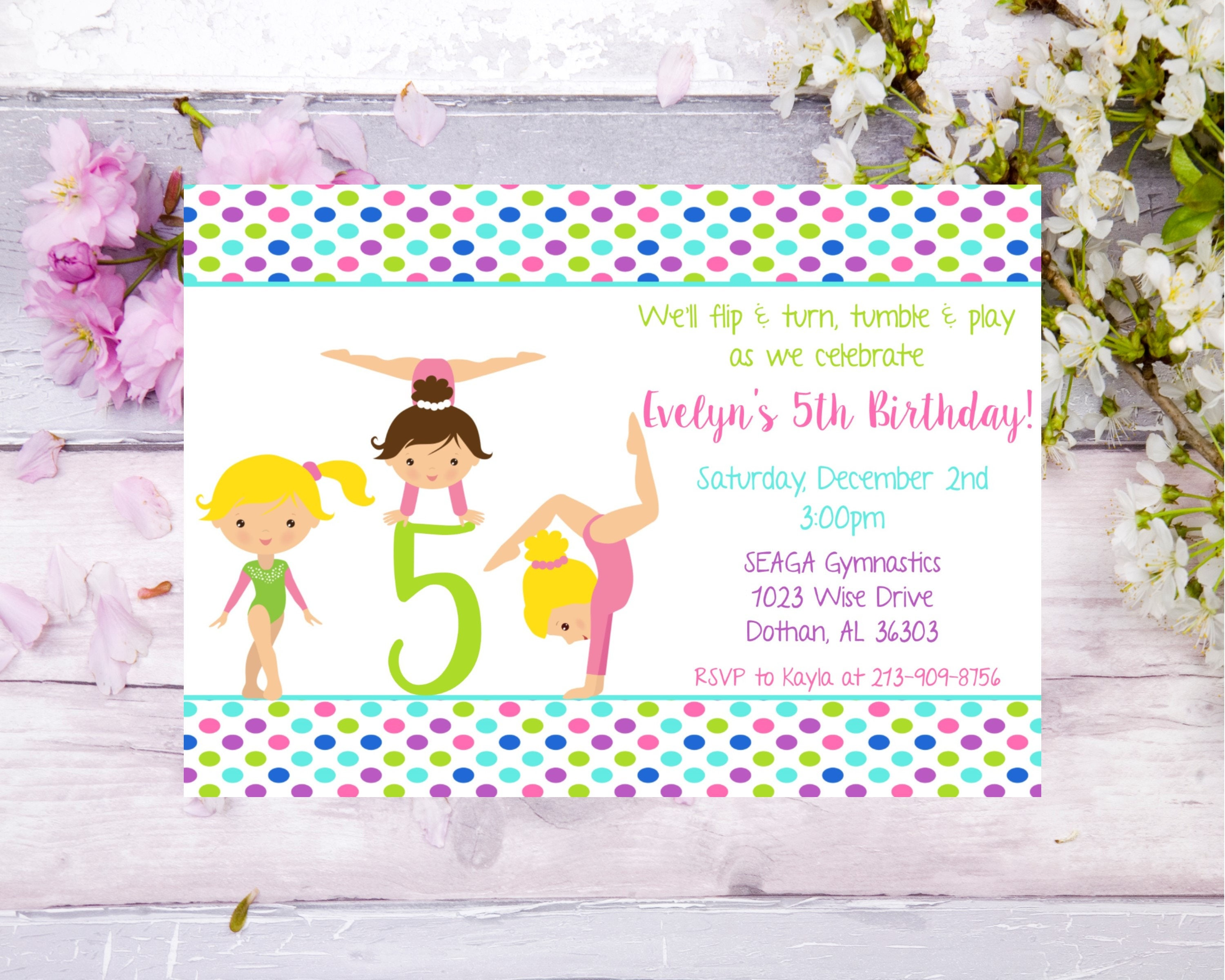 Gymnastics birthday invitation gym party girls birthday party dance ...