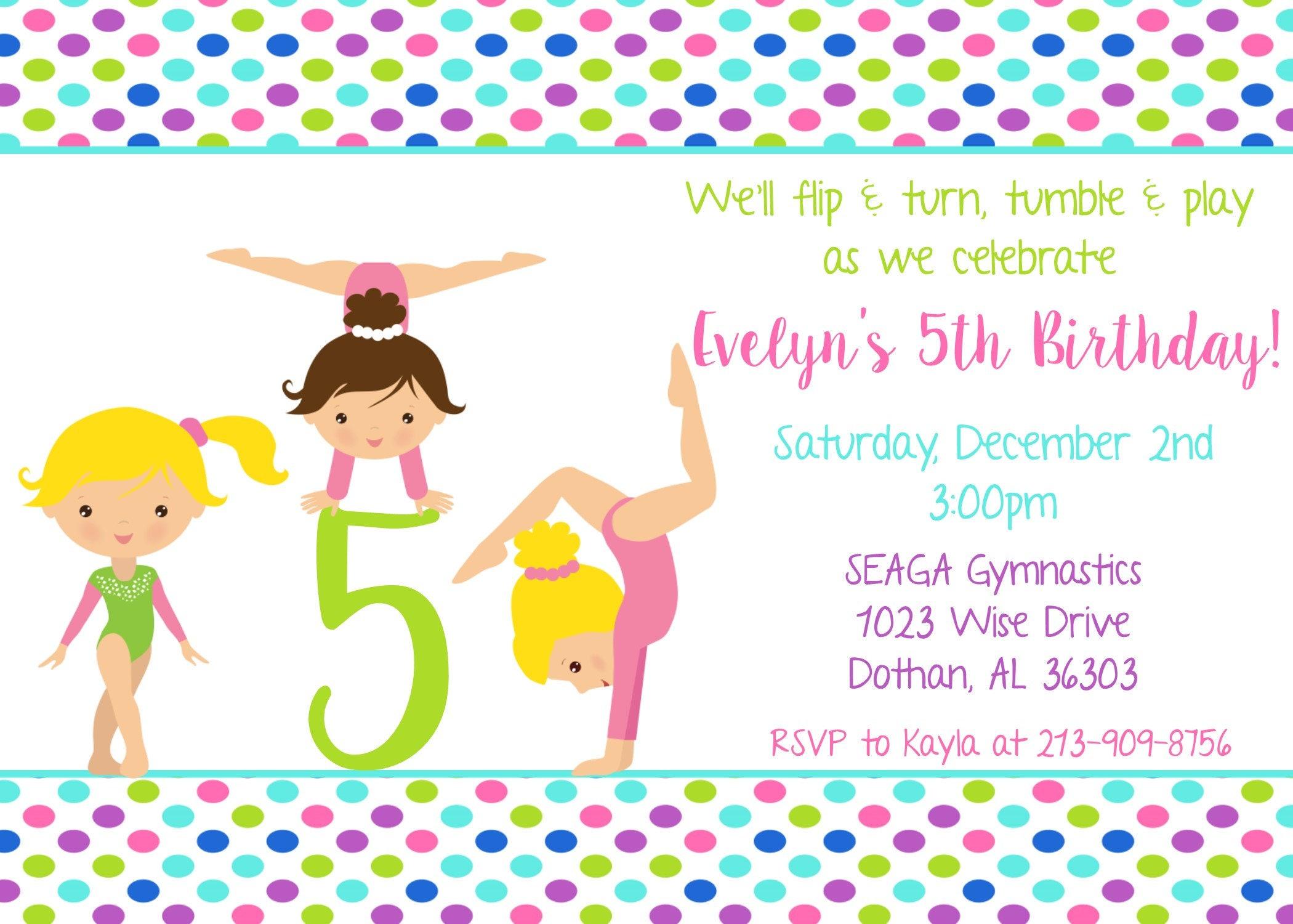 Gymnastics birthday invitation gym party girls birthday party dance ...