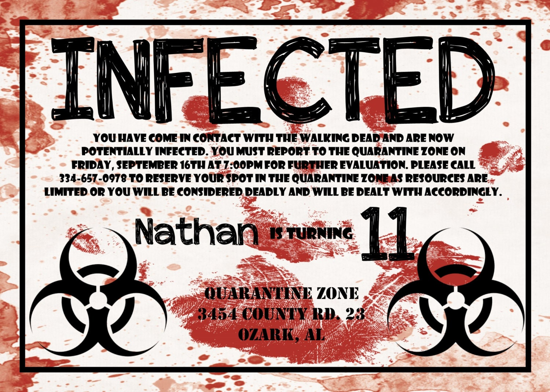 Zombie birthday invitation infected invite walking dead invite gallery photo gallery photo filmwisefo