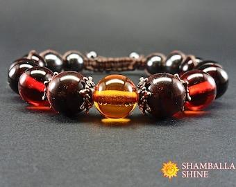 Shades od dark amber shamballa hand jewelry Gemstone brown bracelet Beaded amber jewelry Brown amber bracelet Ambre gemstone women bracelet