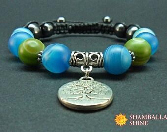 Fairytale gift Silver tree pendant Blue agate bracelet Blue green Tree of life Shamballa bracelet Gift for her Fantastic bracelet Healing