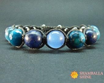 Natural blue stone Mix beads bracelet Blue gemstone jewelry Healing energy bracelet Woven unisex bracelet Dark blue beads Unisex gift idea