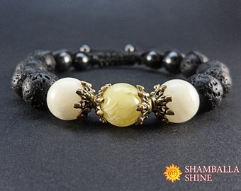 Lava, amber and onyx gemstone women bracelet Yellow black bracelet Healing gemstone hand jewelry Meditation women bracelet Yoga gift idea