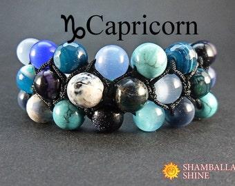 Personalized birthday bracelet gift for Capricorn Custom women hamd jewelry Capricorn stone bracelet Multi gemstone jewelry Meditation stone
