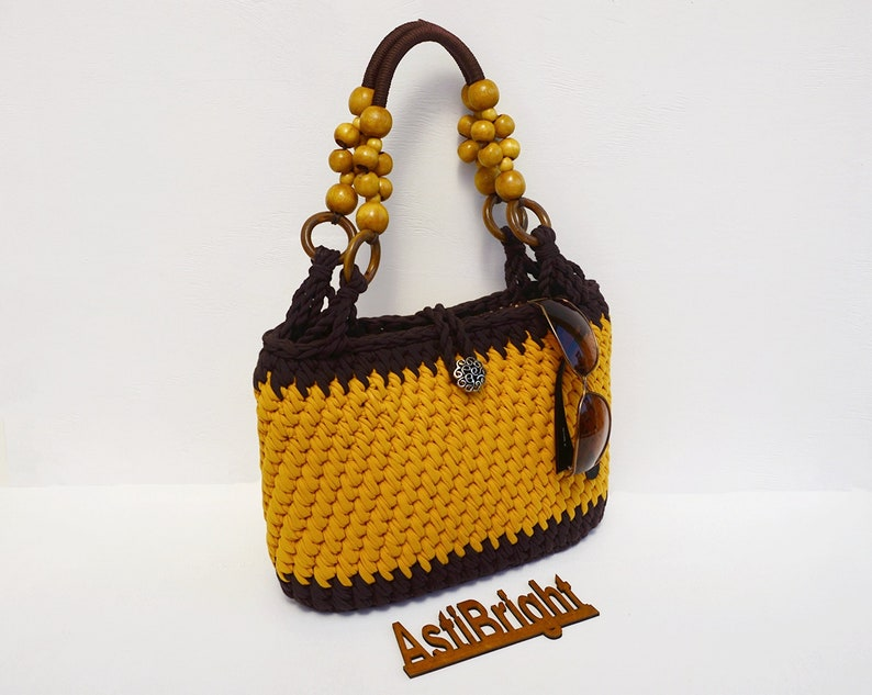 0e9507502e Moutarde au crochet dété Tote Bag sac de plage tricoté   Etsy