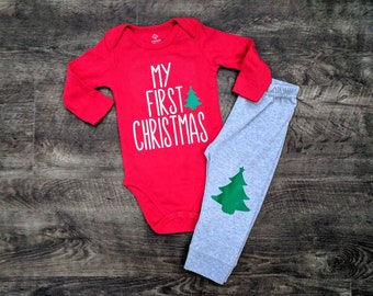 babys first christmas gender neutral 1st christmas outfit baby boy baby girl christmas pajamas green christmas tree knee patch pants