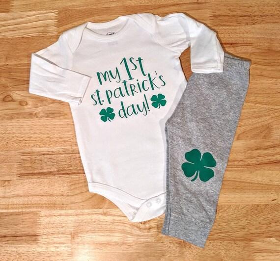 Personalised Clover St.Patricks Day Baby Set Bodysuit Ireland Baby Irish Clover