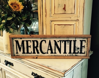 Mercantile Sign • Framed MERCANTILE Wooden Sign • Painted Sign • Farmhouse Style • Black and White • Farmhouse Sign • Distressed