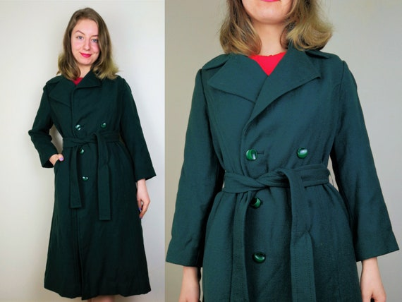 Forest Green 1970s Coat | Size S-M | Green Vintage