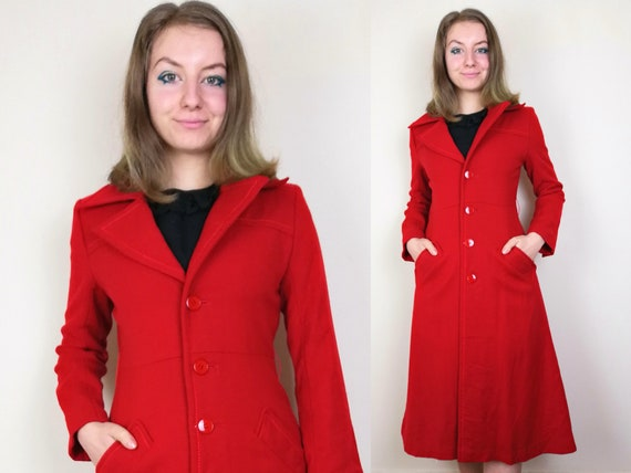 Wool 1960s 70s Mod Coat   Size XS-S   1960s Coat  