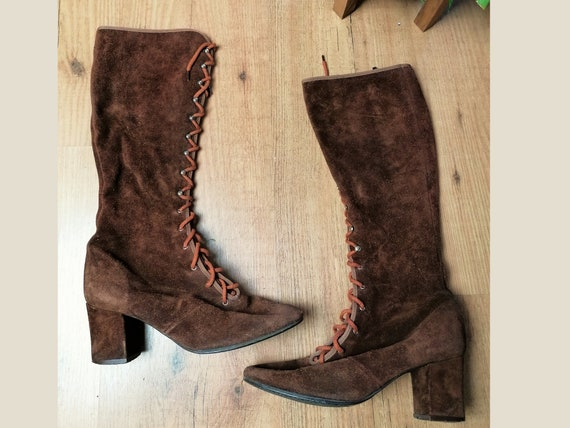 Brown 1960s Suede Boots | Size UK 2.5-3 | EU 35-35