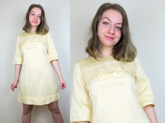 Pastel Yellow 1960s Mod Dress | Size S | 1960s Shi