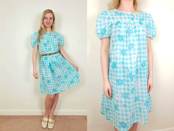 778a1066014 Blue Dolly 1960s Babydoll Dress Nightie Floral Checkered Size
