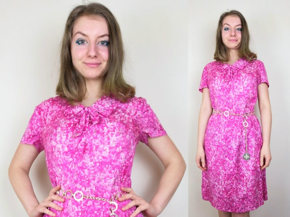 1980s turquoise green black and pink floral print shift dress with v neckline flower power nightgown size mediumlarge ML Vintage 80s