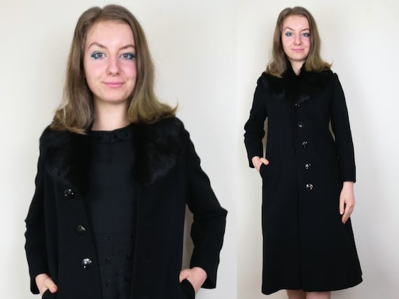 Black Faux Fur Coat | Size XS-S | Wool 1960s 70s M
