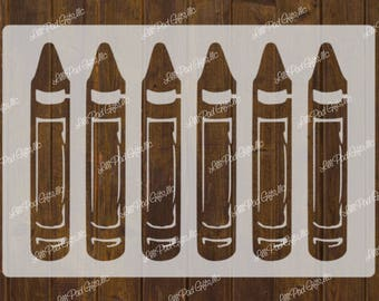 CRAYONS - Set of 6 - 14.5x10 -  Re-usable stencil